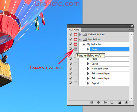 Photoshop actions - Toggle dialog function